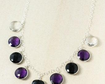 Silver Black Onyx, Amethyst Quartz, Crystal Bib Necklace - Quartz Bib Necklace
