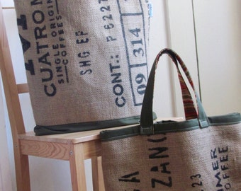Coffee Bean Burlap Tote Bag Upcycled XL Tote - Recycled Burlap Coffee Sack - Olive Green Eco Friendly Teacher / Travel Bag - His / Her Gift