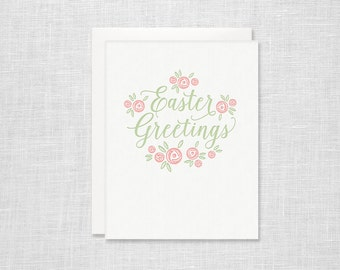 Easter Greetings Floral Letterpress Card
