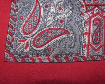 Vintage Liberty of London Silk Square Scarf - Red with Classic White and Black Paisley Pattern, Square Border
