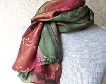 Silk Scarf Hand Dyed in Brown, Olive and Brick Red