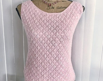 Pretty Vintage Baby Pink Sequin and Beaded Sleeveless Sweater Size L XL