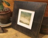 Framed Print OOAK Monotype Minimalistic Landscape Hand Pulled Square Print On Antique Paper