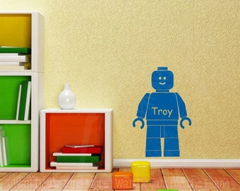 Building Blocks Guy Wall Sticker Vinyl Decals Art Personalized Boy Bedroom Decor Shape, 2 Arm Options and Sizes