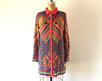 1960s Vintage Psychedelic Print Mini Dress Red Paisley Rainbow Chevron Stripe Mod Shirtdress XS/S