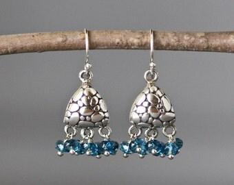 Blue Topaz Earrings - London Blue Topaz - Chandelier Earrings - Blue Gemstones - December Birthstone - Blue Earrings - Wire Wrapped Earrings