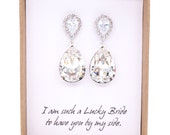 Sandra - Swarovski Crystal Teardrop Earrings, Cubic Zirconia Earrings, Silver, Bridesmaid Earrings, Bridal Jewelry, Wedding Jewelry