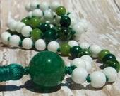 Canadian Jade Mala, Malachite Mala, Chrome Diopside Mala, Tridacna Shell Mala, Agate Mala, Green Mala, White Mala, Prayer Beads