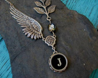 Typewriter Jewelry Letter J With Wings and Swarovski