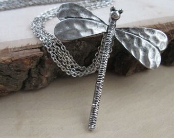 Silver Dragonfly Necklace