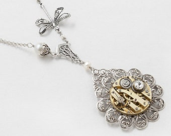 Steampunk Necklace with Antique Gold Pocket Watch on Filigree Flower with Genuine Pearl, Silver Dragonfly Pendant & Swarovski Crystal 3030