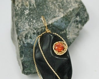 November Citrine Birthstone Pendant - or Happy Halloween