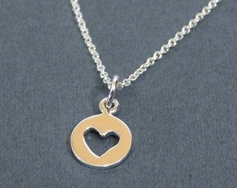 Tiny Heart Cutout Charm Necklace in Sterling Silver Round Disk  Pendant Necklace