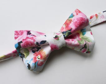 Little and Big Guy BOW TIE - Easter Spring - Bright Floral - (Newborn-Adult) - Baby Boy Toddler Teen Man