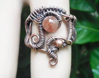 Sunstone ring, wire wrapped ring size 6, unique boho rings, bohemian rings, wire wrapped jewelry, boho jewelry, wire wrap ring, wire rings
