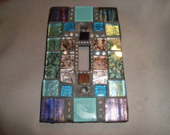 MOSAIC Light Switch Plate -  Single Switch, Wall Art, Wall Plate, Aqua, Blue green, turquoise, silver, rhinestones