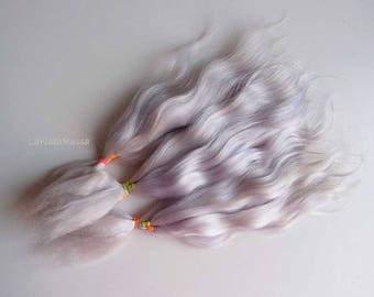 Combed Mohair locks pale lilac ombre blonde Doll Hair extra long locks 8-10 in/ reroot/ blythe/ pukifee/ Reborn/ lafiabarussa la fiaba russa