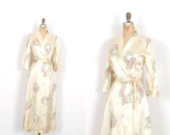Vintage 1940s Robe / 40s Rose Print Satin Dressing Gown / Cream ( small S )