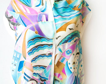 Silk Scarf Hand Painted City Landscape Abstract Ready to Ship