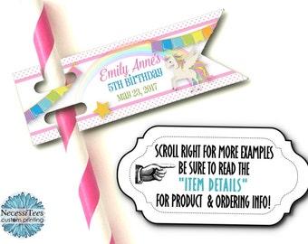 12 Flags for Straws, Cake Pop or Sucker Sticks, Unicorns & Rainbows, Pastel Colors, Birthday, Baby Showe