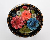 Vintage Mexican Folk Art Hand Painted Bowl Serving Dish