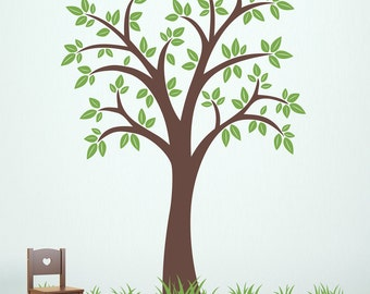 Tree Wall Decal with Grass patches - 80 inch tree - Tree Decal Set - Grass Wall Decals