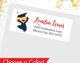 Girl Graduation Address Labels (Different Hair Colors & Skin Tones Available) - Glossy Finish - Sheet of 30