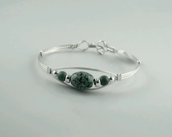 WSB-0232 Handmade African Turquoise Bangle Bracelet Wire Wrapped with Argentium Sterling Silver Wire