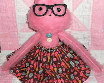 StRaWbErrY PiNk BuNNy WiTh GLaSSeS EaStEr Bunny Rabbit Doll Handmade Primitive Doll HAFAIR