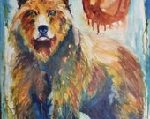 Large Watercolor Bear on Canvas by Maure