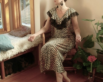 60s Leopard Print Maxi Dress... Queen of the Felines... Cat Powered Mega Diva