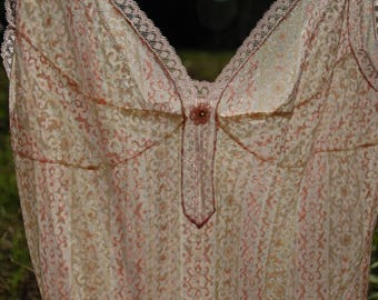 Size XS... Vintage 1960s Babydoll Slip... Sheer Pink and White Stripes... Confectionary