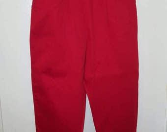 Vintage 1950s Red Cotton Cigarette Pants