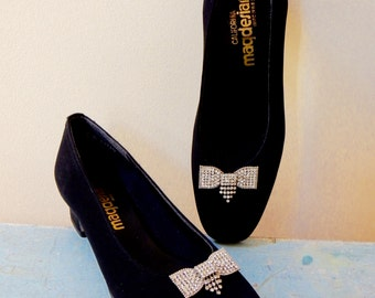 70s California Magdesians Shoes Matte Black Velour Rhinestone Bow Made in USA Like New Old Stock Exquisite