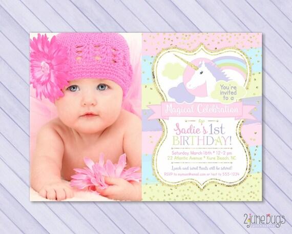 Printable Rainbow Birthday Invitations ~ Unicorn first birthday invitation unicorn st birthday invitation