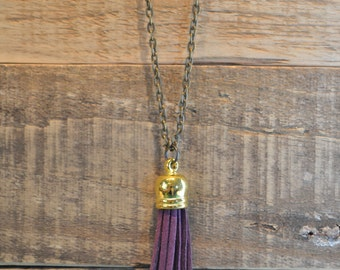 Purple and Bronze Tassel Necklace