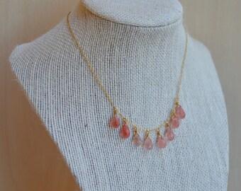 Black Friday -Rose Quartz Teardrop Necklace. 14/20 Gold Filled Chain.