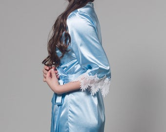 Bridesmaid Robes, Bridal Robe, Bride Robe, Silk Robe, Lace Robe, Blue Robe, Getting Ready Robes, Sky Blue Robe, Lace Bridal Robe, Taylor