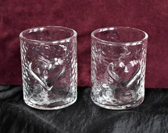 Vintage Clear GLASS CANDLE HOLDER Votive Candleholder Tealight Tea Light Pressed Ripple Design Pair Set 2 Two Heart Pattern Anchor Hocking