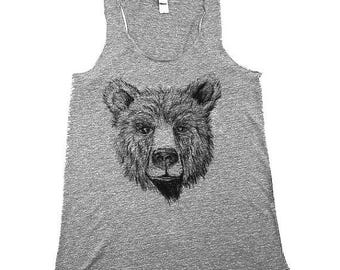 Womens Teddy Bear Tank Top - Womens Tank - heather grey - Small, Medium, Large, XL, 2X