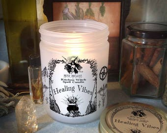 Healing Vibes Kitchen Witch Candle Jar, Herb Dressed Candle Included