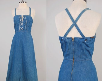 RARE Vintage 70s LANDLUBBER denim sun dress / Corset lace front / Original hang tag / Fits up to 25 inch waist