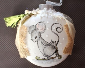 Pen and Ink Art Mouse Tasseled Glass Ornament with Burlap, Crochet and Other Embellishments