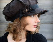 Linen Newsboy Hat Shabby Chic Cap in Brown and Black