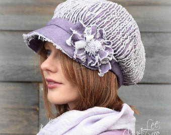 Purple Newsboy Hat Cap Shabby Chic Chenille Mori Girl