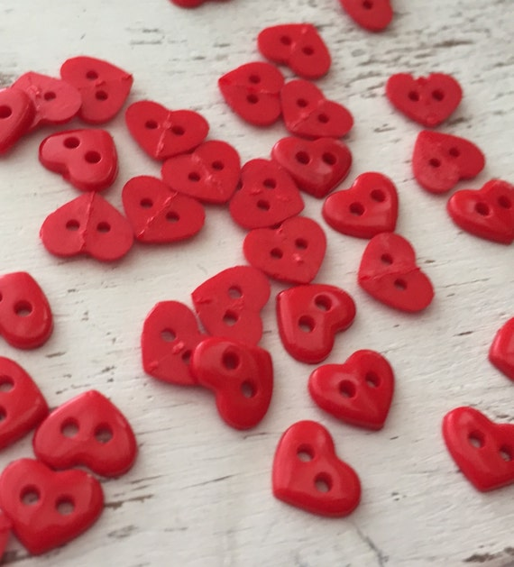 "Tiny Heart Buttons, Packaged 2 Hole Buttons, Sew Thru Red Heart Buttons by Buttons Galore, Style 1826 ""Red Hearts"", Sewing, Crafting"