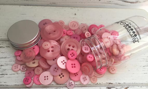 """Hand Dyed Buttons, """"Pink Grapefruit"""", Mixed Buttons, 200 Buttons, Plastic Mini Mason Jar by Buttons Galore, 2 & 4 Hole Assortment"""