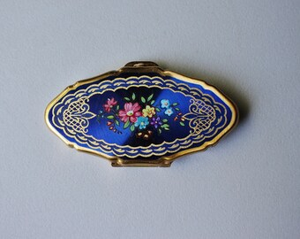 Vintage Retro 1950s Brass Metal Enamel Blue Floral Travel Pill Box, STRATTON Made in England Mid Century