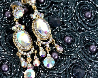 Iridescent Aurora Borealis Oval Cut Princess Pierced Earring (Vintage Jewelry) 1940s aesthetic for wedding,ballroom,prom,anniversaries