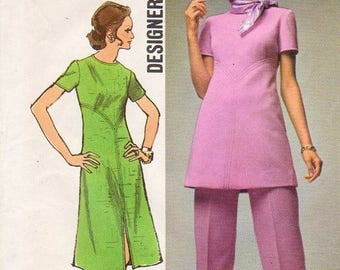 1970s Structured Dress & Pants Pattern - Vintage Simplicity 9358 - Size 16 Bust 38